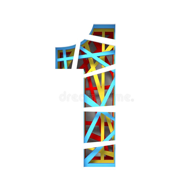 Colorful paper cut out font Number 1 ONE 3D. Render illustration isolated on white background vector illustration