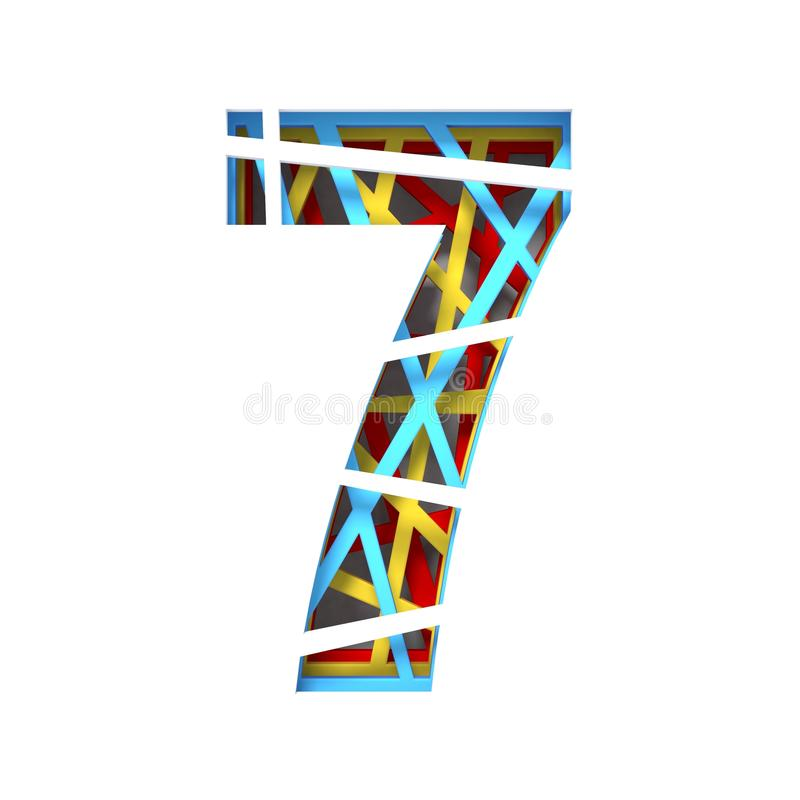 Colorful paper cut out font Number 7 SEVEN 3D. Render illustration isolated on white background vector illustration