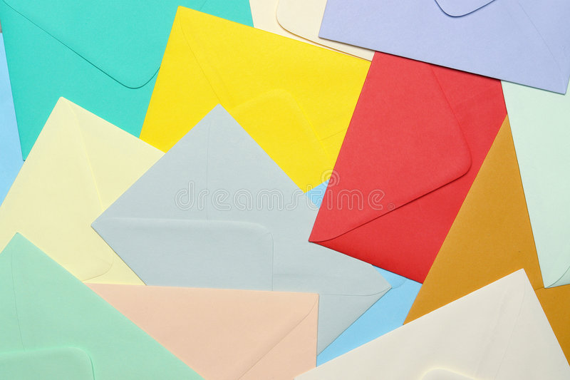 Colorful paper envelopes royalty free stock photography