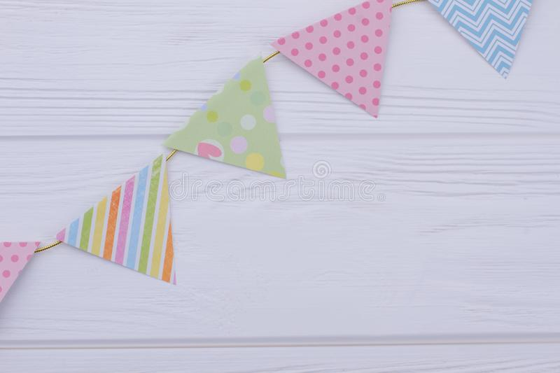 Colorful paper flags for kids Birthday party. stock images