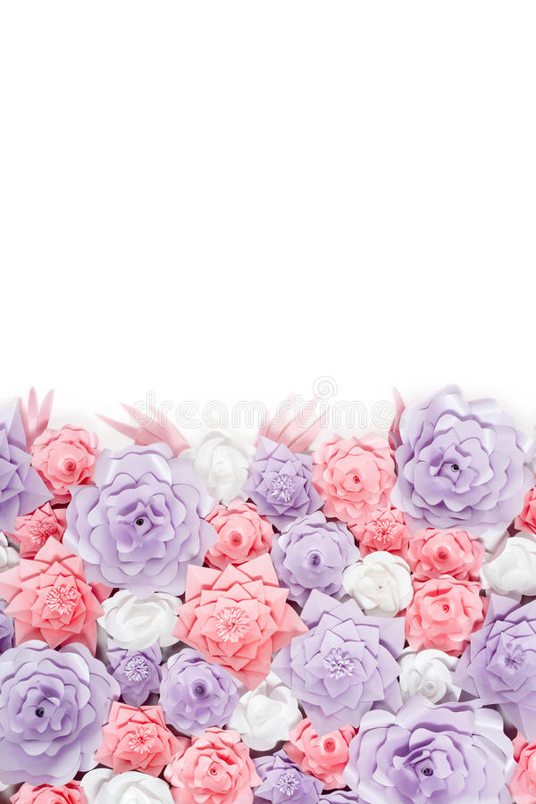 Colorful paper flowers background. Floral backdrop with handmade roses for wedding day or birthday. Colorful paper flowers background with space for your text stock image