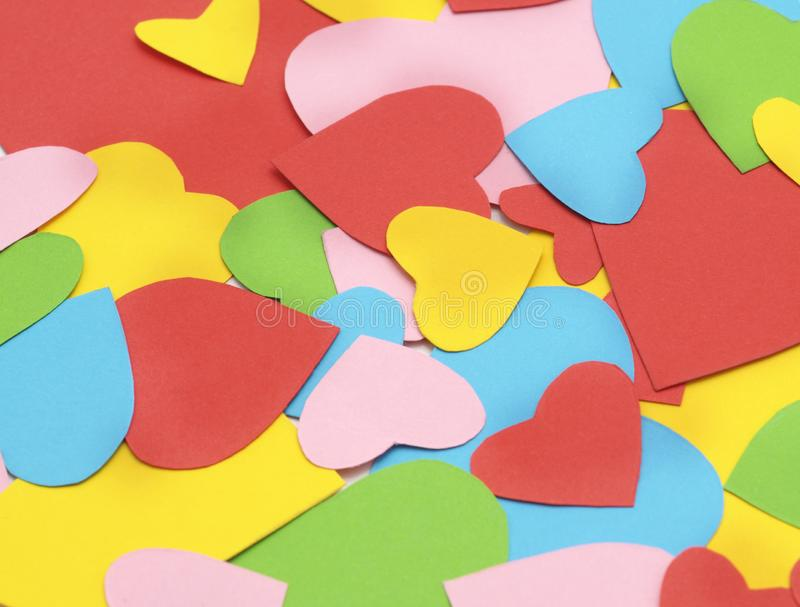 Colorful paper hearts stock photos