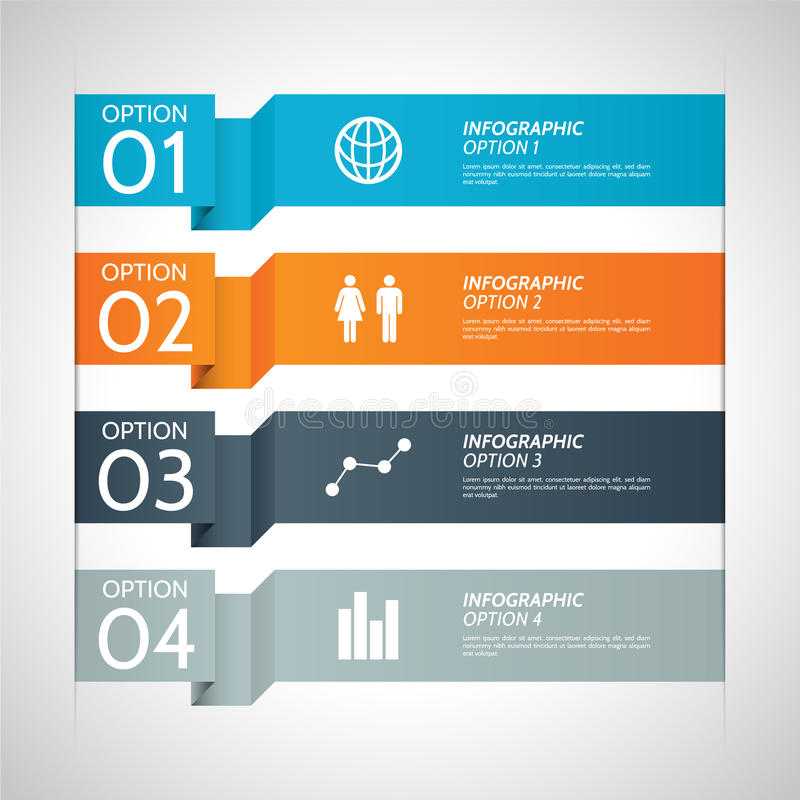 Colorful Paper Infographic Option Background stock illustration