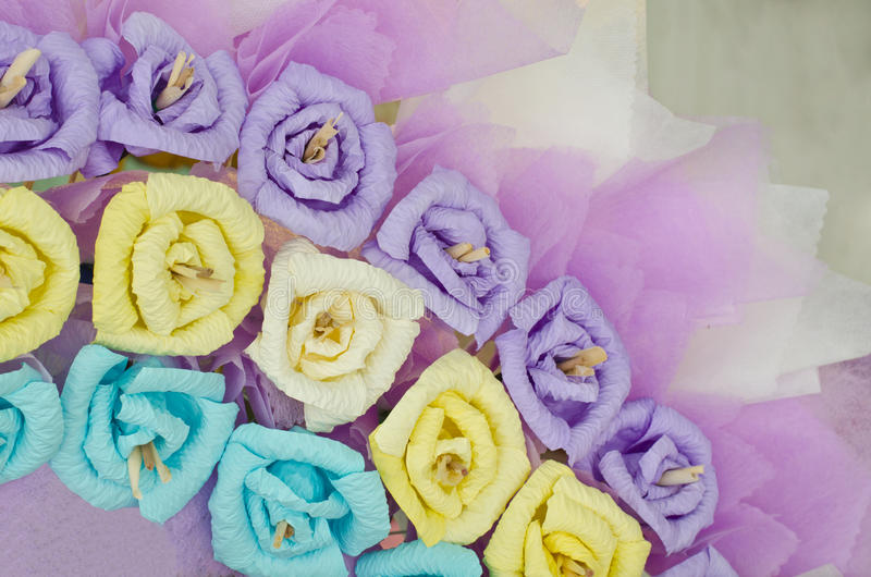 Colorful paper roses flower wreath stock photography