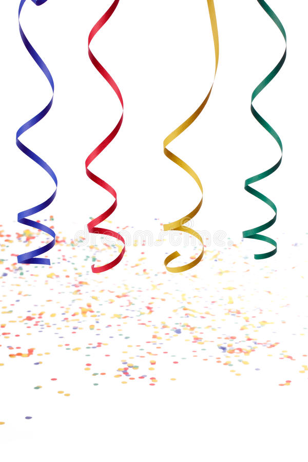 Colorful paper streamer. Isolated on white background stock photos