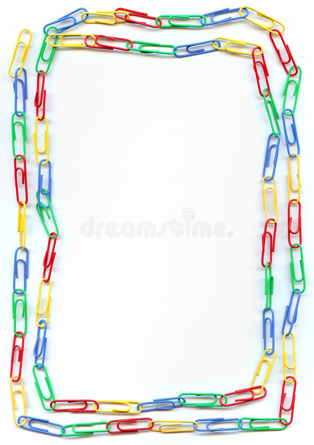 Colorful paperclips border royalty free stock photography