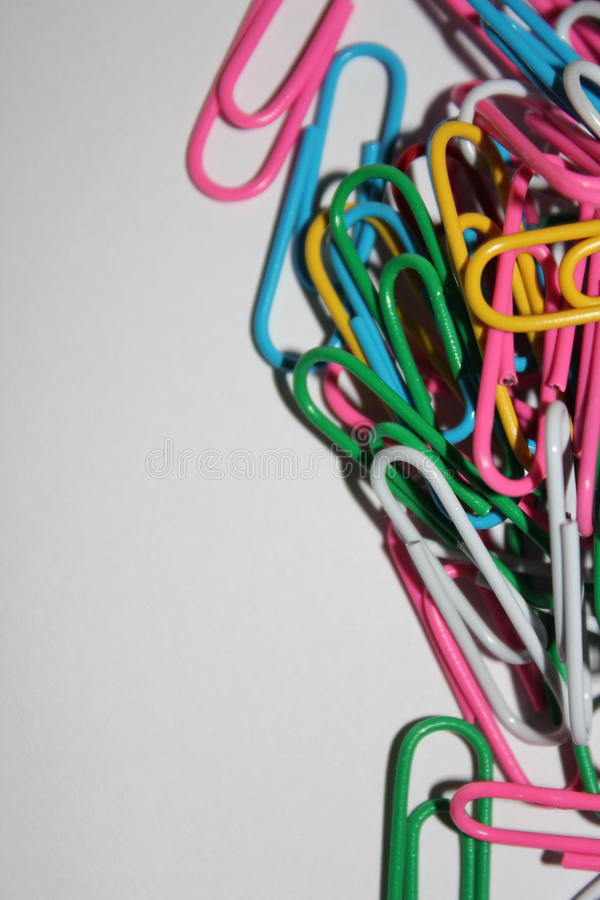 Colorful paperclips stock photo