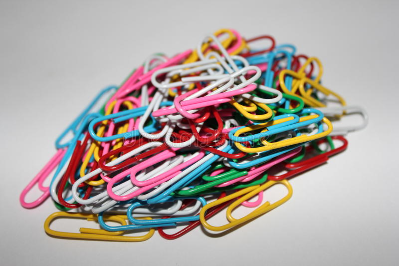 Colorful paperclips royalty free stock photography