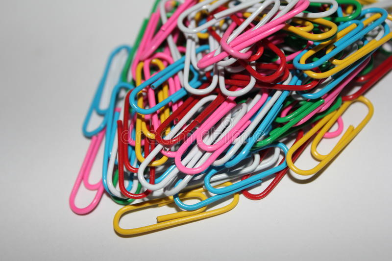 Colorful paperclips royalty free stock photo
