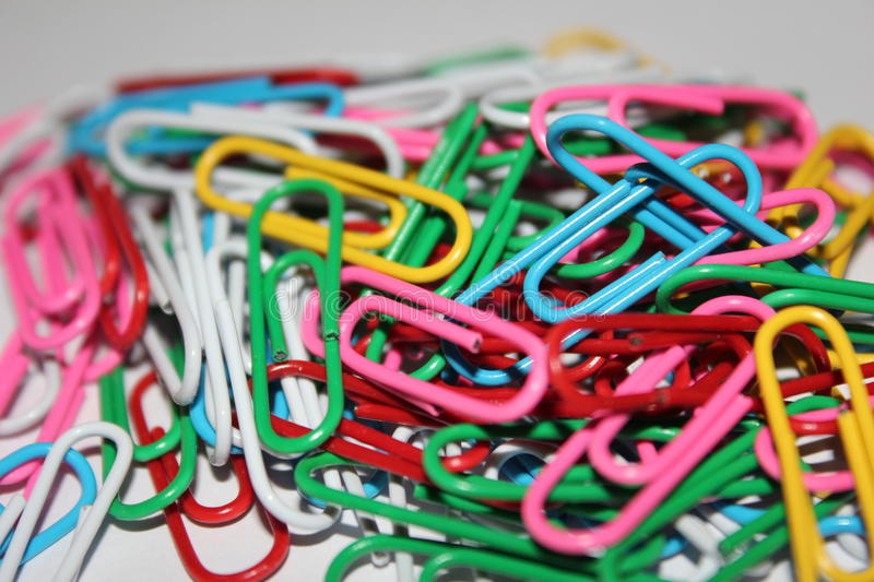 Colorful paperclips royalty free stock image