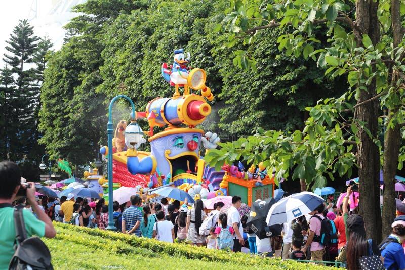 Colorful parade taken in Hong Kong`s Disneyland stock photo