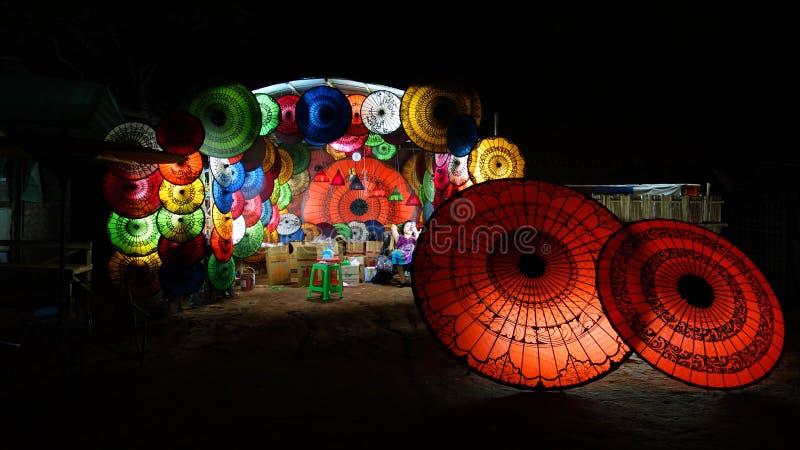 Colorful parasols in Myanmar stock photo