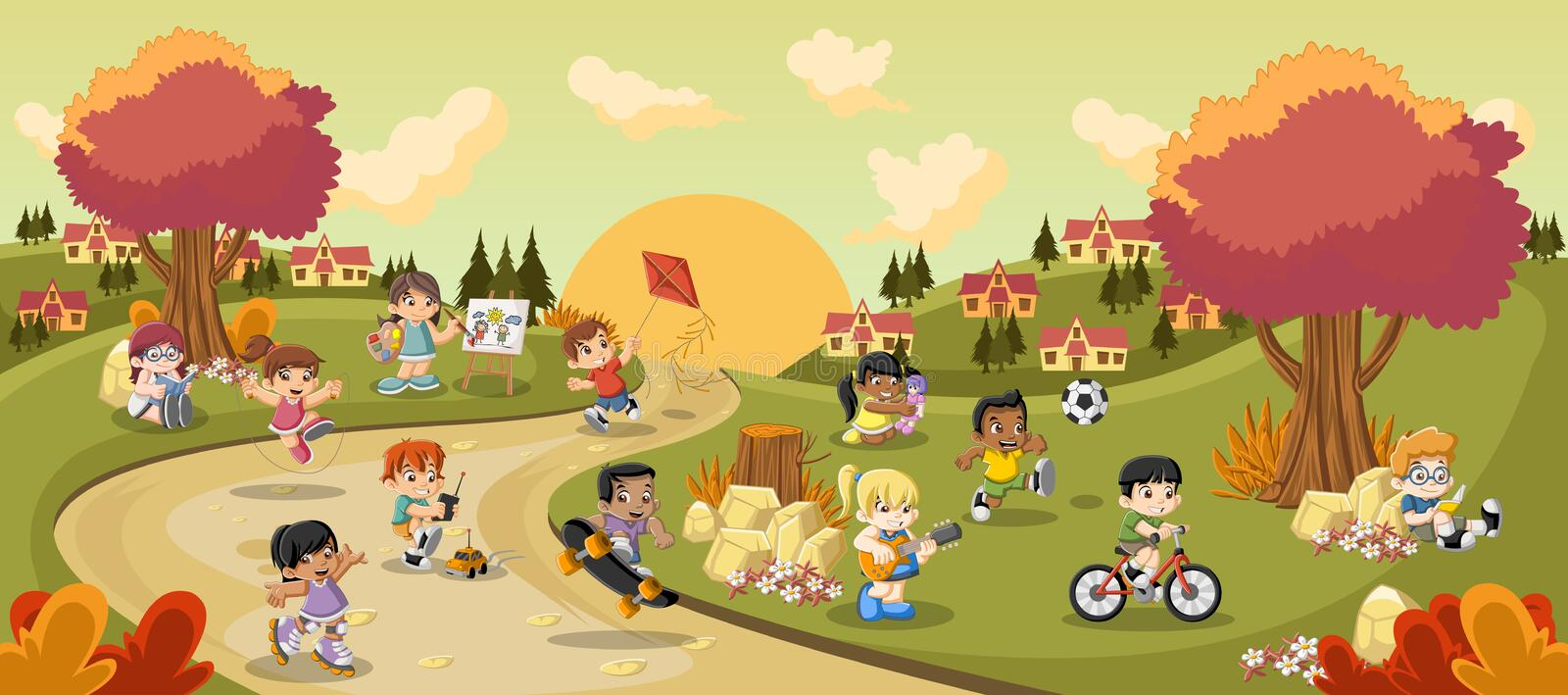 Colorful park in the city with cartoon children playing stock illustration