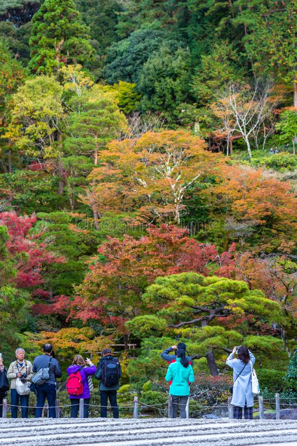 Colorful park of Kyoto in autumn. Kyoto, Japan - November 19, 2018: Tourist taking photo in colorful park, tree change color during autumn and winter stock images