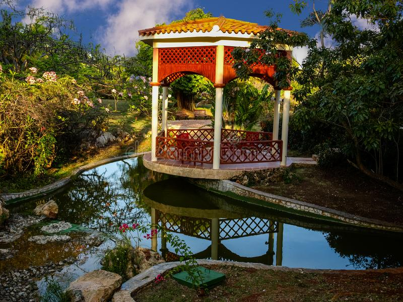 Colorful park in the tropics stock photography