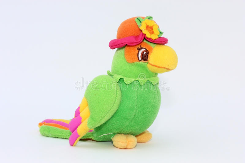 Colorful parrot, toy of plush royalty free stock image