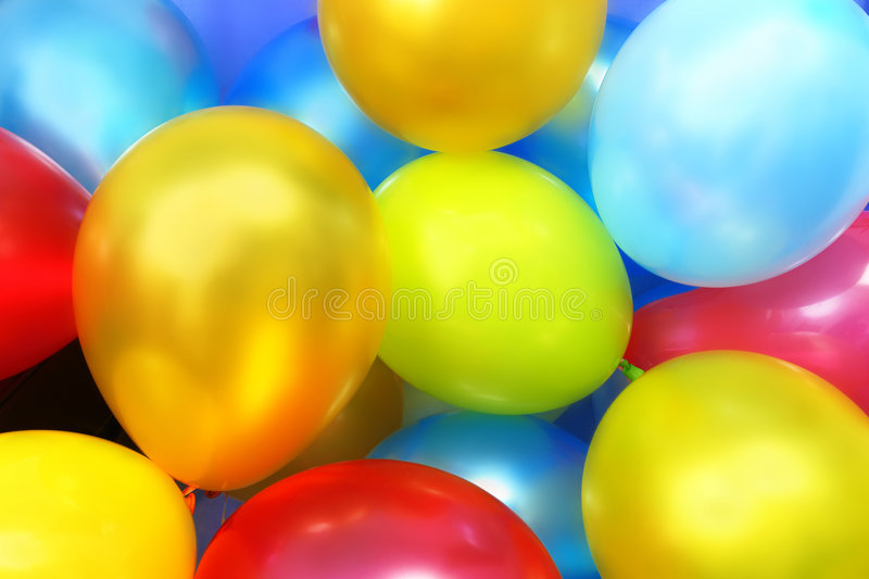 Colorful party balloons stock image