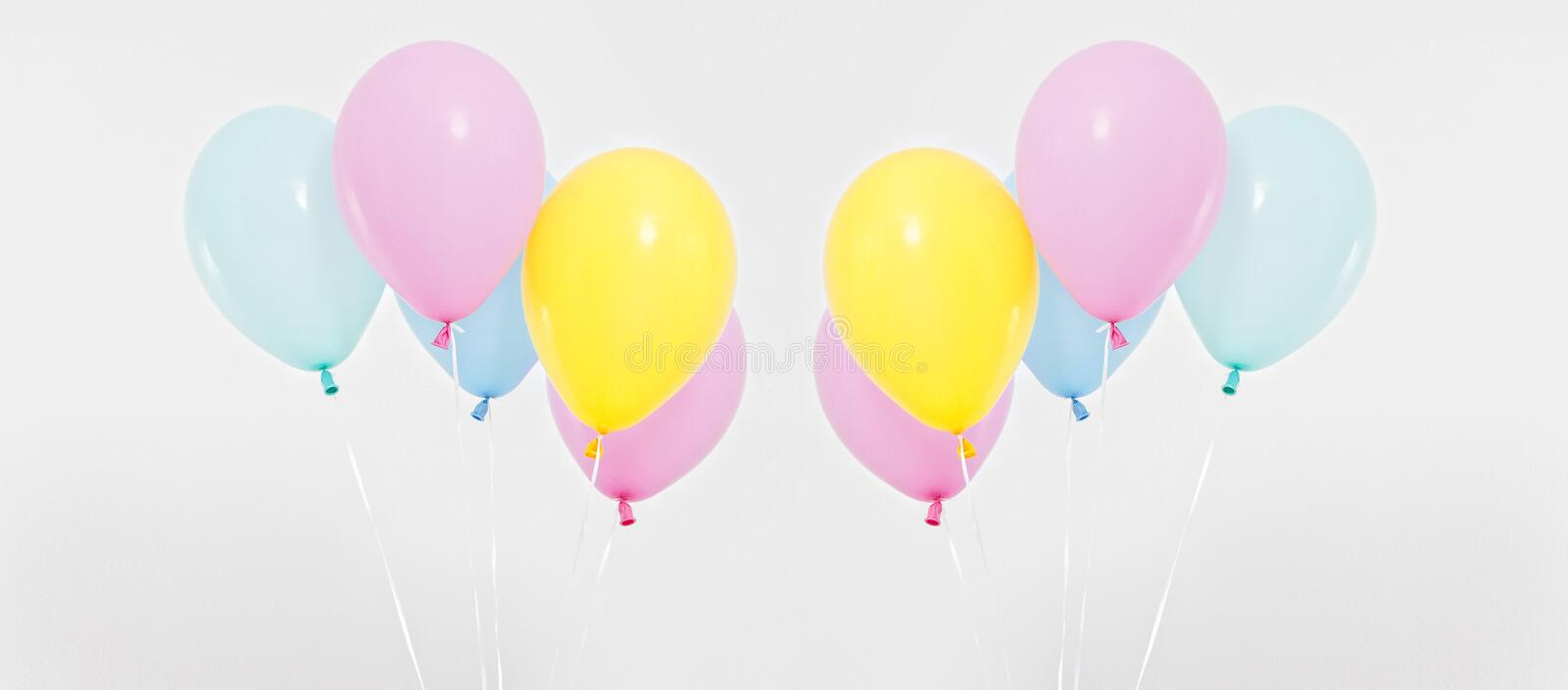 Colorful party balloons background collage, set. Celebration, holidays, summer concept. Design template. billboard or banner blank stock images