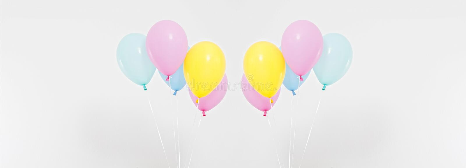 Colorful party balloons background collage, set. Celebration, holidays, summer concept. Design template. billboard or banner blank stock photo