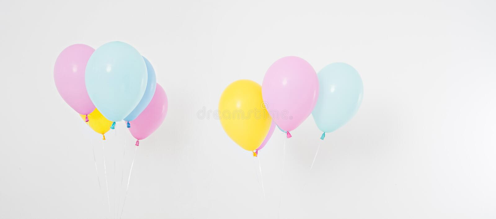 Colorful party balloons background collage, set. Celebration, holidays, summer concept. Design template. billboard or banner blank stock photography