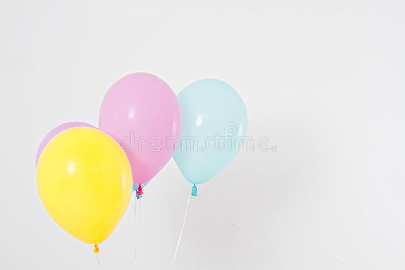 Colorful party balloons background. Isolated on white. Copy space stock images