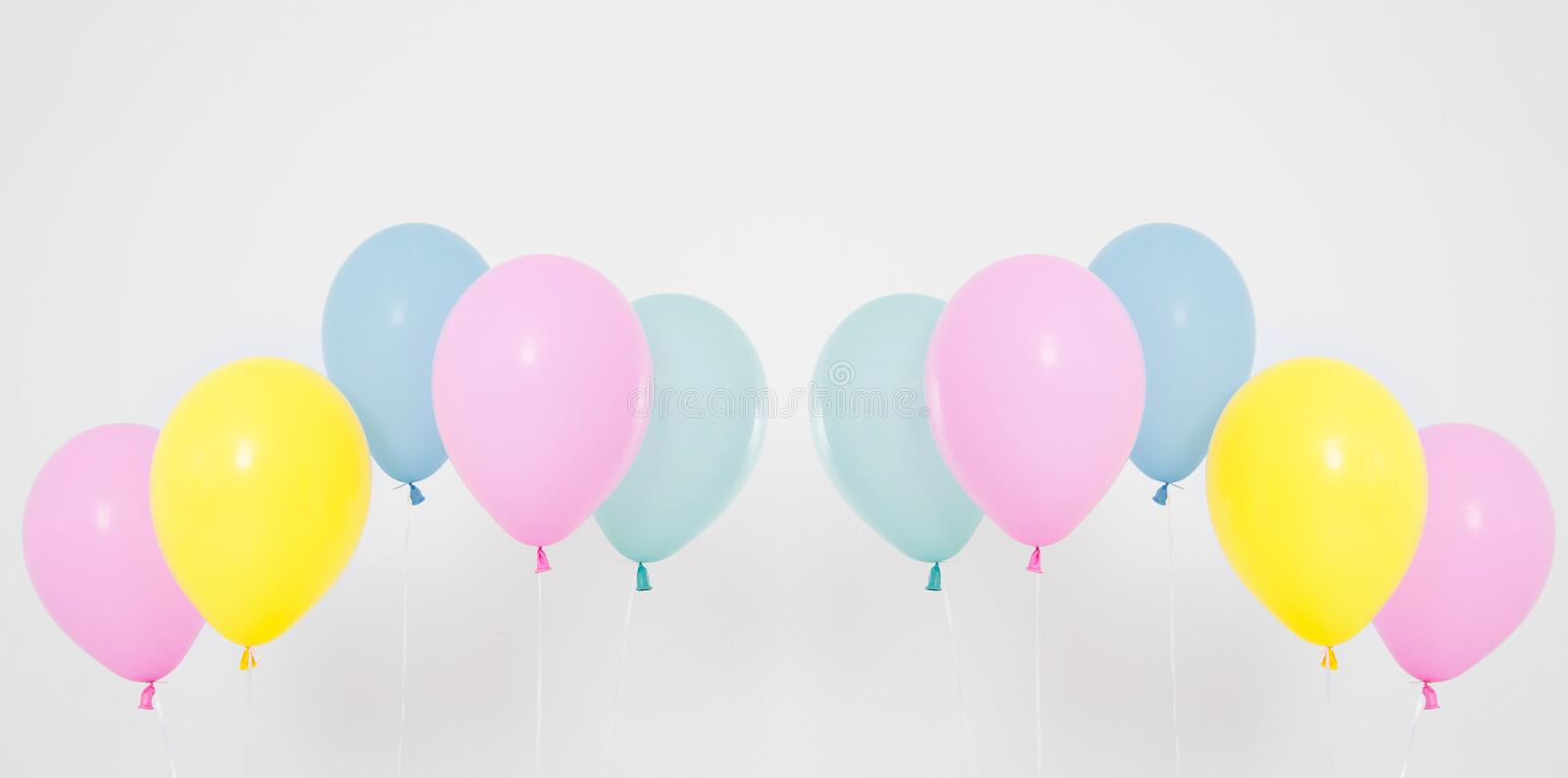 Colorful party balloons background set, collage. Isolated on white. Copy space.  royalty free stock photos