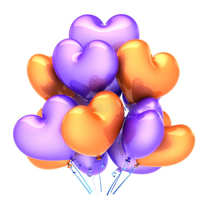 Colorful party balloons bunch heart shaped orange purple royalty free illustration