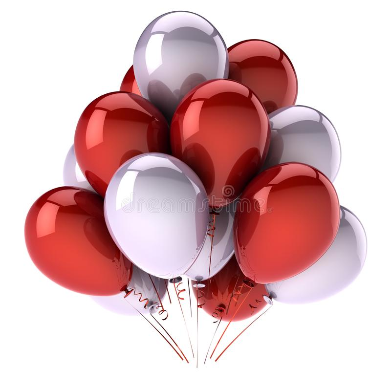 Colorful party balloons red white birthday decoration royalty free stock photo