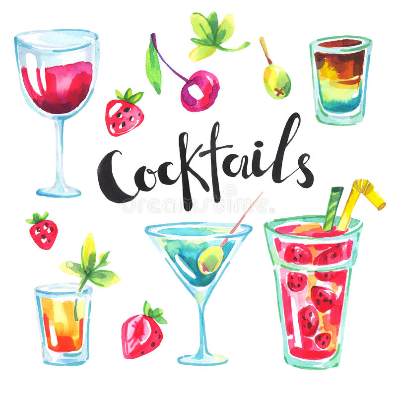 Colorful party collection. Watercolor tropical cocktails and berries. Modern summer set for holiday card, postcard vector illustration
