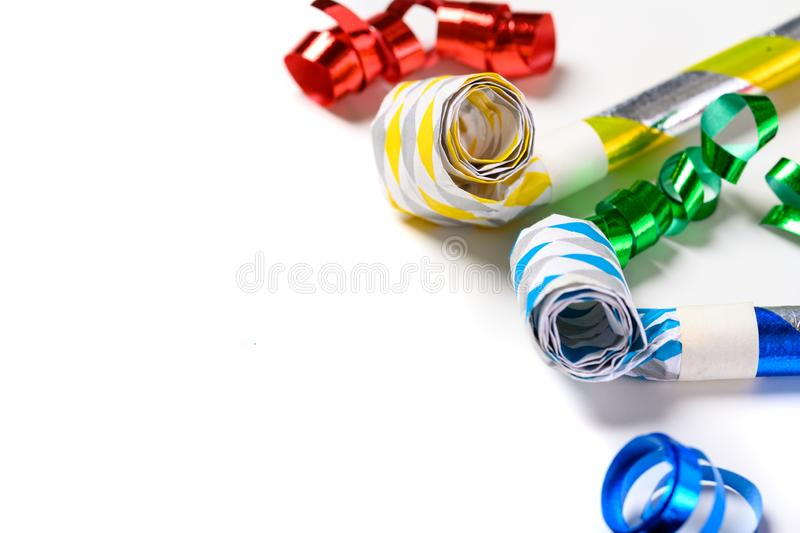 Colorful party noise makers on a white background vector illustration