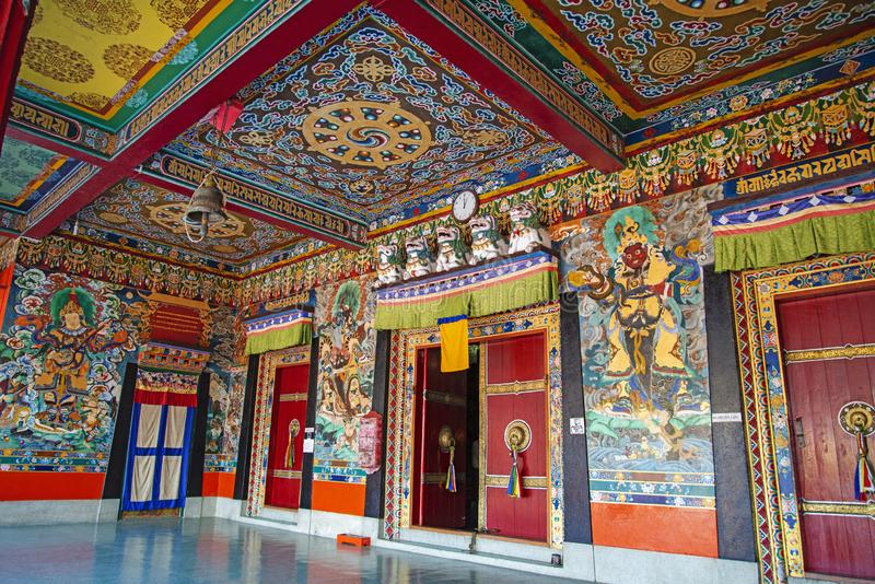 Colorful passage at Rumtek Monastery, Sikkim, India royalty free stock photography