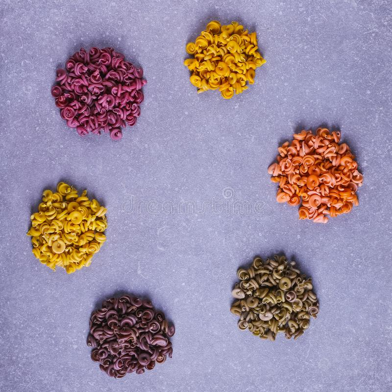 Colorful pasta with natural vegetable dye, isolate. Colorful pasta with natural vegetable dye, isolate stock photo