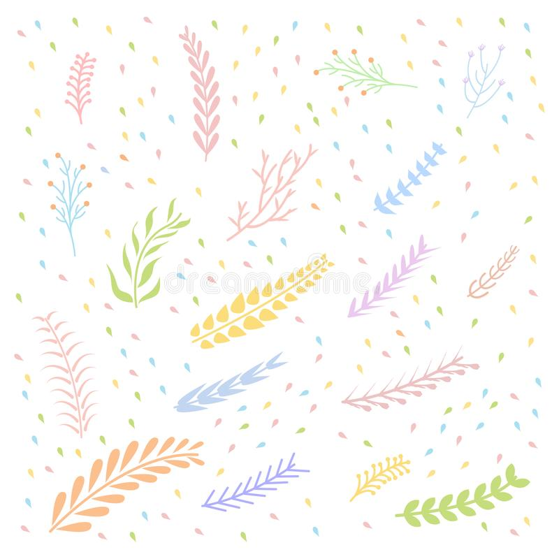 Colorful pastel Floral elements white background vector illustration