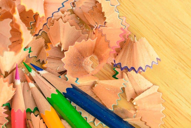 Colorful pastel pencil shavings stock photos