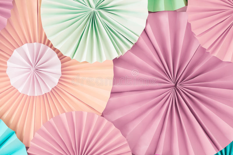 Colorful pastel romantic background wall with multicoloured paper circles royalty free stock image