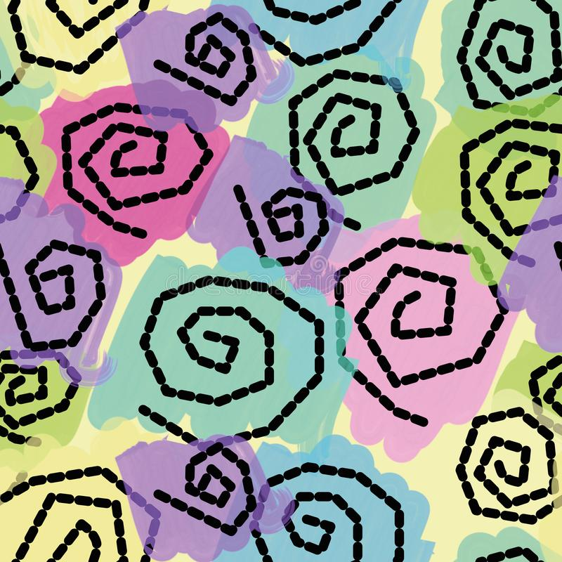 Colorful pastel seamless pattern with spirals. Abstract seamless pattern with pastel spirals on yellow background vector illustration