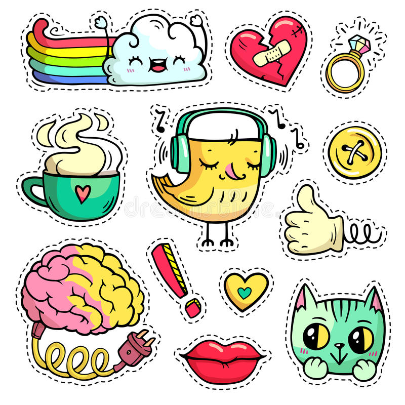 Vector Colorful patch badges with fashion elements and animals. Hand-drawn stickers, pins in cartoon 80s-90s comic style. royalty free illustration