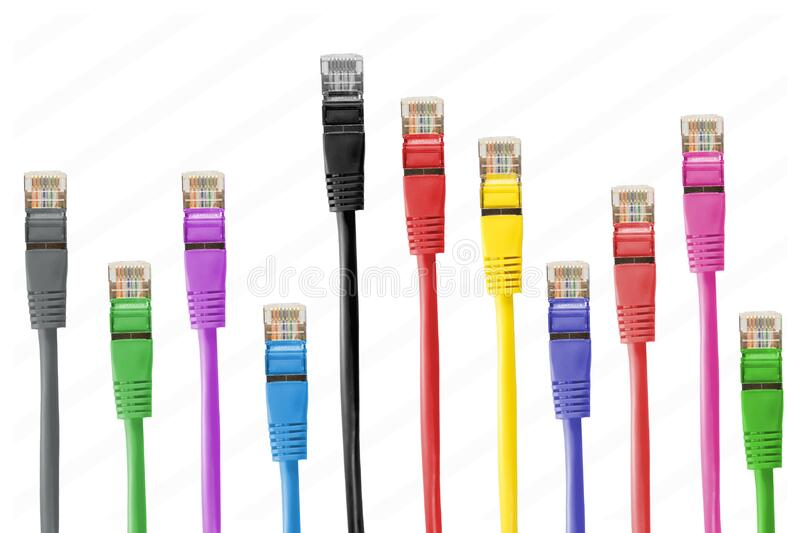 Colorful patch cables royalty free stock photo