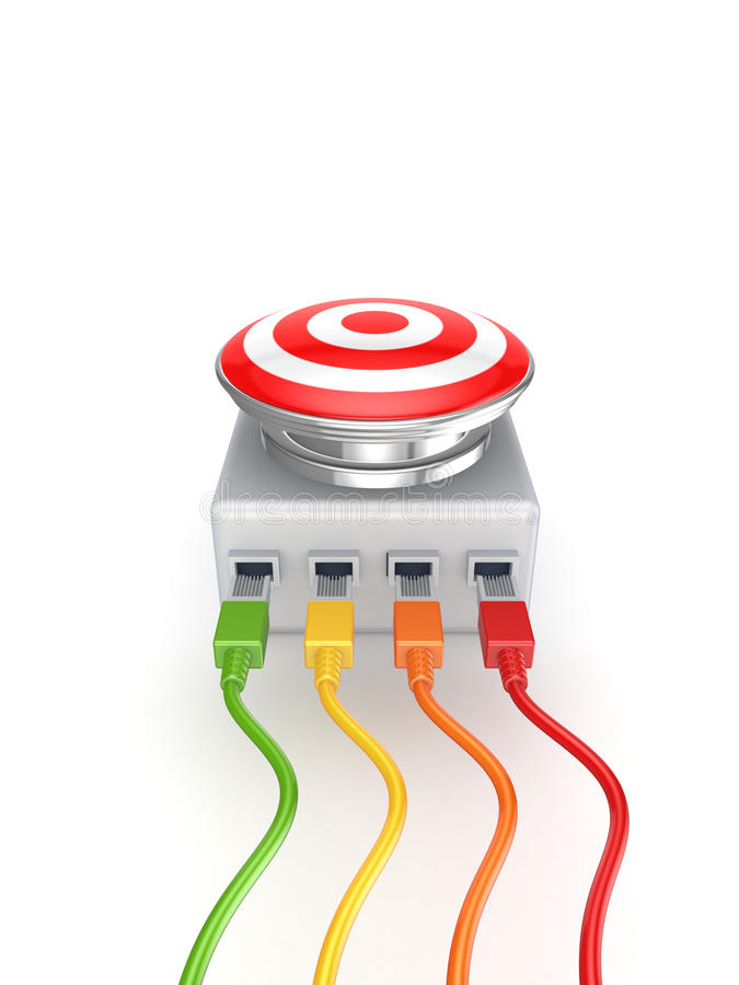 Download Colorful Patchcords Connected To Big Button. Stock Illustration - Illustration: 29082669