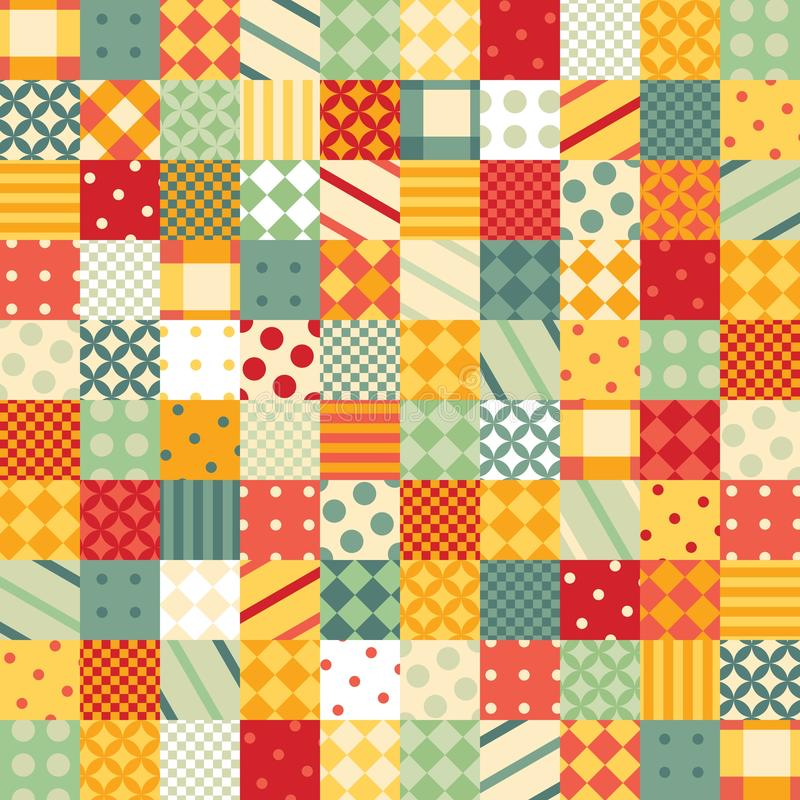 Colorful patchwork pattern. Seamless design of bright squares with geometric patterns royalty free illustration
