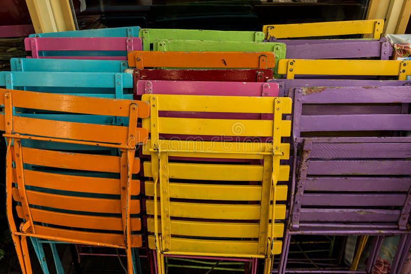 Colorful Patio Chairs stock photography