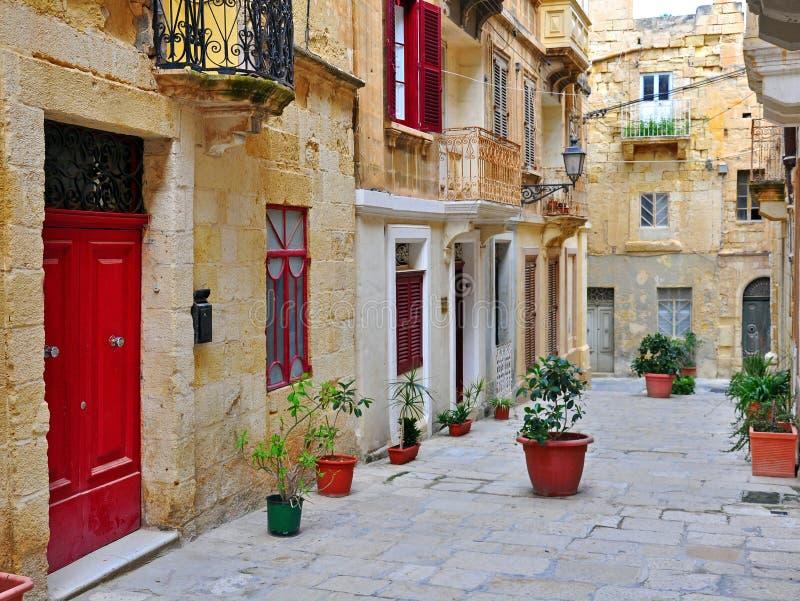 Colorful Patio In Valletta Stock Photo