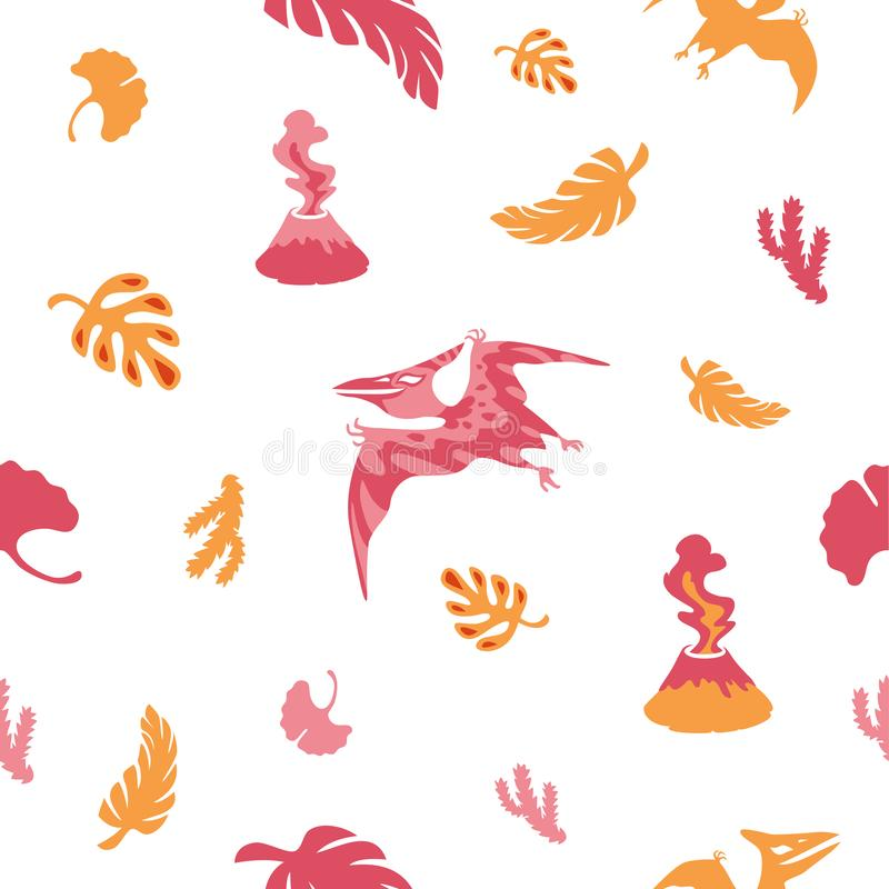 Seamless dinosaur pattern. Little cartoon pteranodon. royalty free stock photo