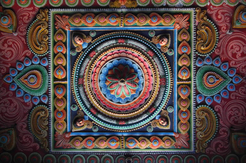 Colorful pattern. Of a ceiling in a Hindu temple (Trincomalee, Sri Lanka royalty free stock images