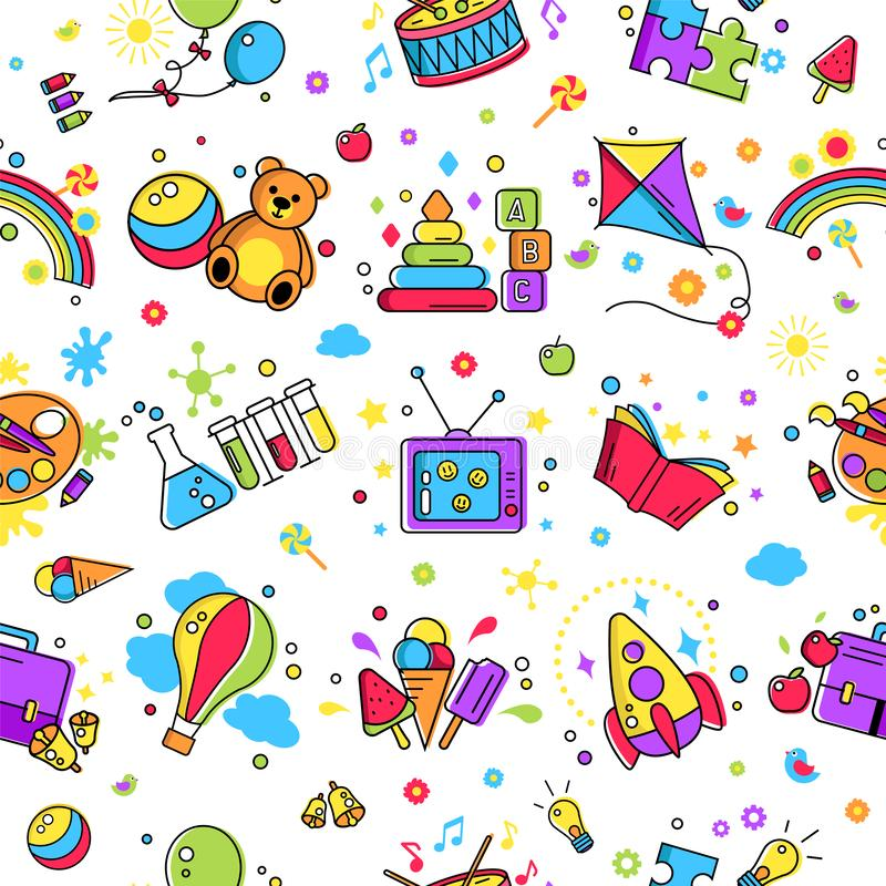 Kids activity pattern, background. Colorful pattern creative idea for children promo playing space. Vector watercolor icon, symbol pattern. Child logo activity stock illustration