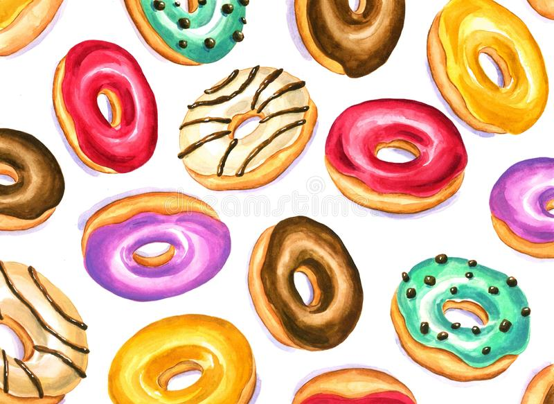 A colorful pattern of delicious donuts in watercolor vector illustration