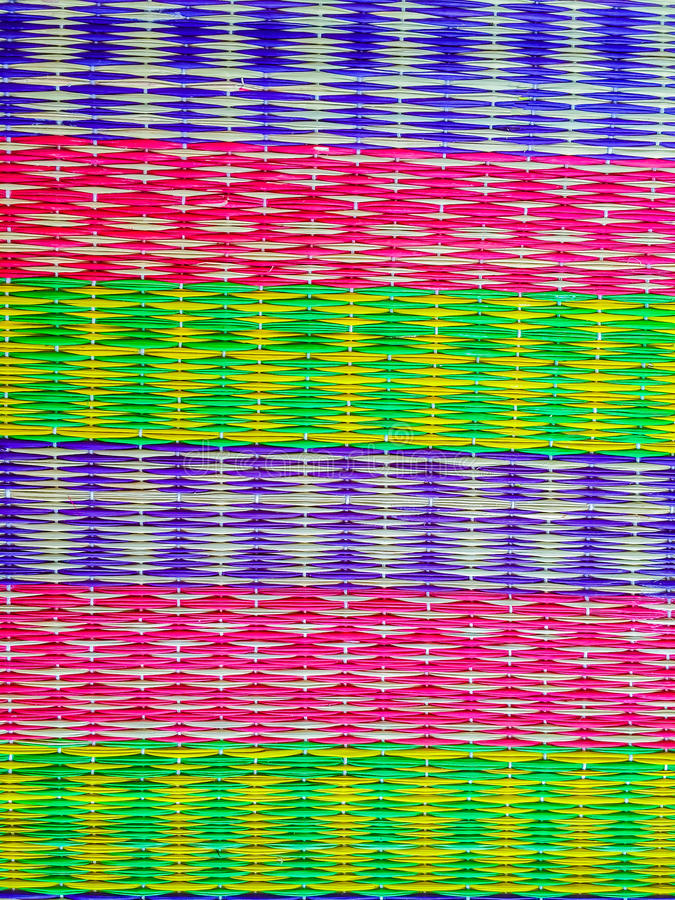 Colorful pattern on the papyrus mat, the folk wisdom in One Tamb. Ol One Product (OTOP) under Thailand government's policy supported royalty free stock photography