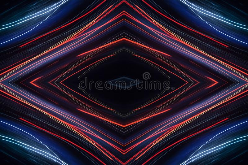 Blue abstract pattern. Colorful pattern of red and blue dynamic neon lines. Modern background. Art concept of lighting effects stock image