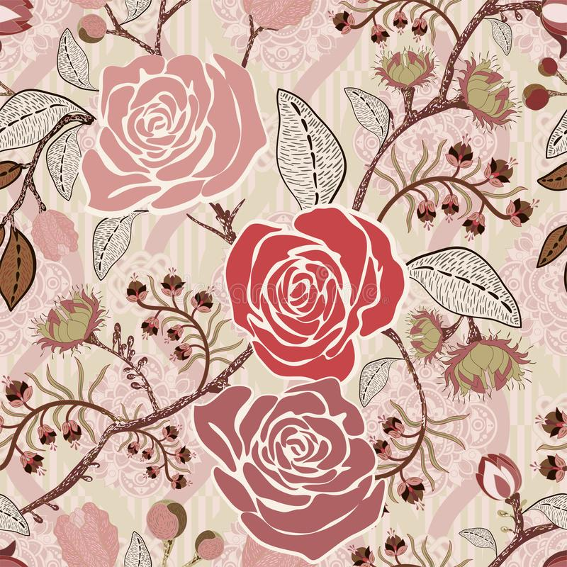 Download Colorful Pattern With Roses Decorative Flowers Seamless Wallpaper For Iphone Cover