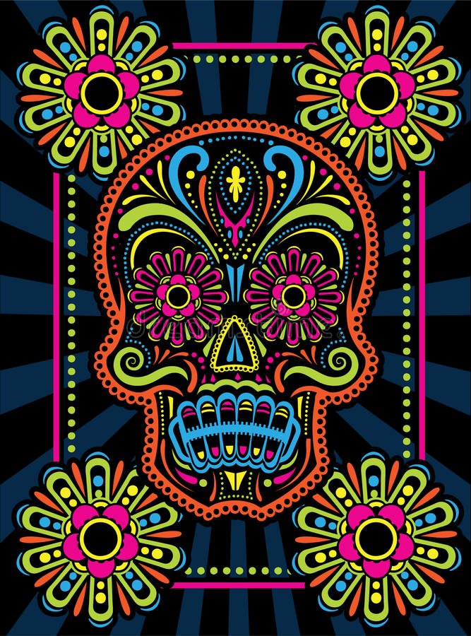 Day of the Dead Candy Skull. A colorful patterned Candy Skull